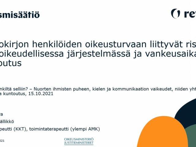 RT @ReVioN_hanke: Tänään Helsingin yliopiston Logopedian koulutusohjelman webinaarissa puhumassa työstämme rikostaustaisten neur...